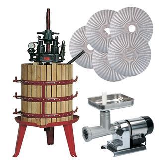 Ensemble fabrication huile avec pressoir hydraulique à vis centrale