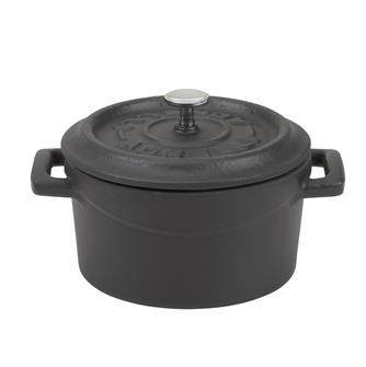 Mini cocotte 10 cm noir mat en fonte