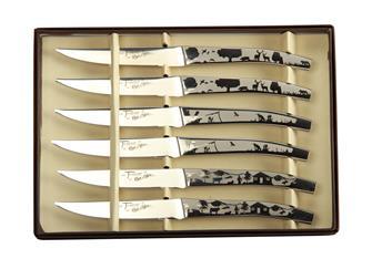 Lot de 6 couteaux à steak décor nature