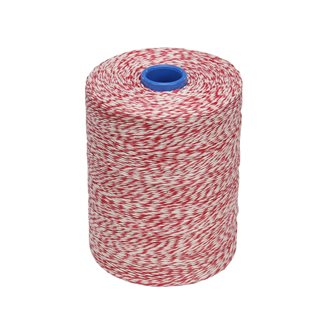 Rouleau 1kg de ficelle pour charcuterie lin lisse chinée blanche rouge