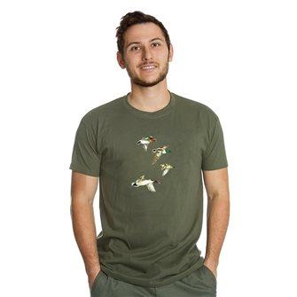 Tee shirt homme Bartavel Nature kaki sérigraphie 4 canards en vol XXL