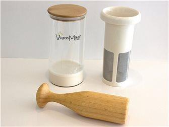 Filtre pour laits végétaux avec bol en verre pour mixeur plongeur et pilon en bois