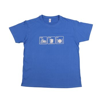 T-shirt M Farm Cook Eat Tom Press bleu sérigraphie grise