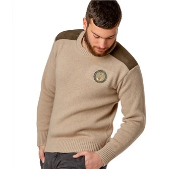 Pull col rond chasse homme jersey 30% laine beige 3XL Bartavel P60 patch lièvre
