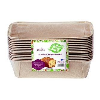 Lot de 15 moules à cake 23 cm en papier 100% biodegradable Naturel