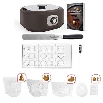 Tempéreuse à chocolat électrique avec 5 moules à chocolats de pâques