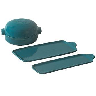 Set plat à fromage et planches Aperitivo en céramique bleu Calanque Emile Henry