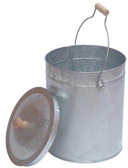 Seau avec couvercle en acier galvanisé et poignée bois pour cendre grain ou compost