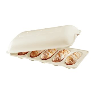 Moule 5 mini-baguettes en céramique blanc Lin Emile Henry pour petits pains et sandwich