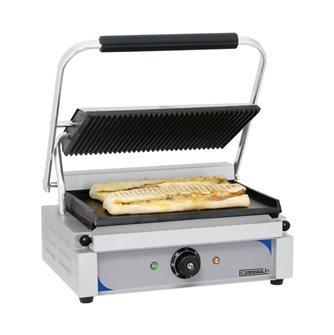 Gril contact double panini plaques 33,5x22 cm lisse en bas rainurée en haut avec récupérateur de graisses